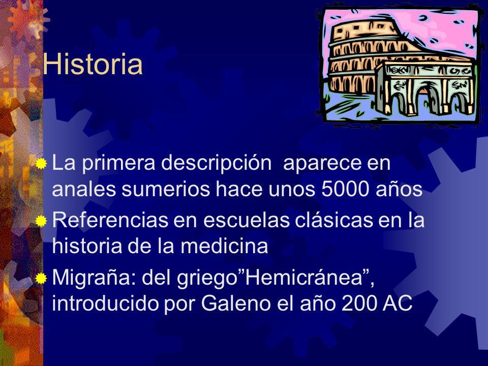 Historia La primera descripción aparece en anales sumerios hace unos 5000 años. Referencias en escuelas clásicas en la historia de la medicina.