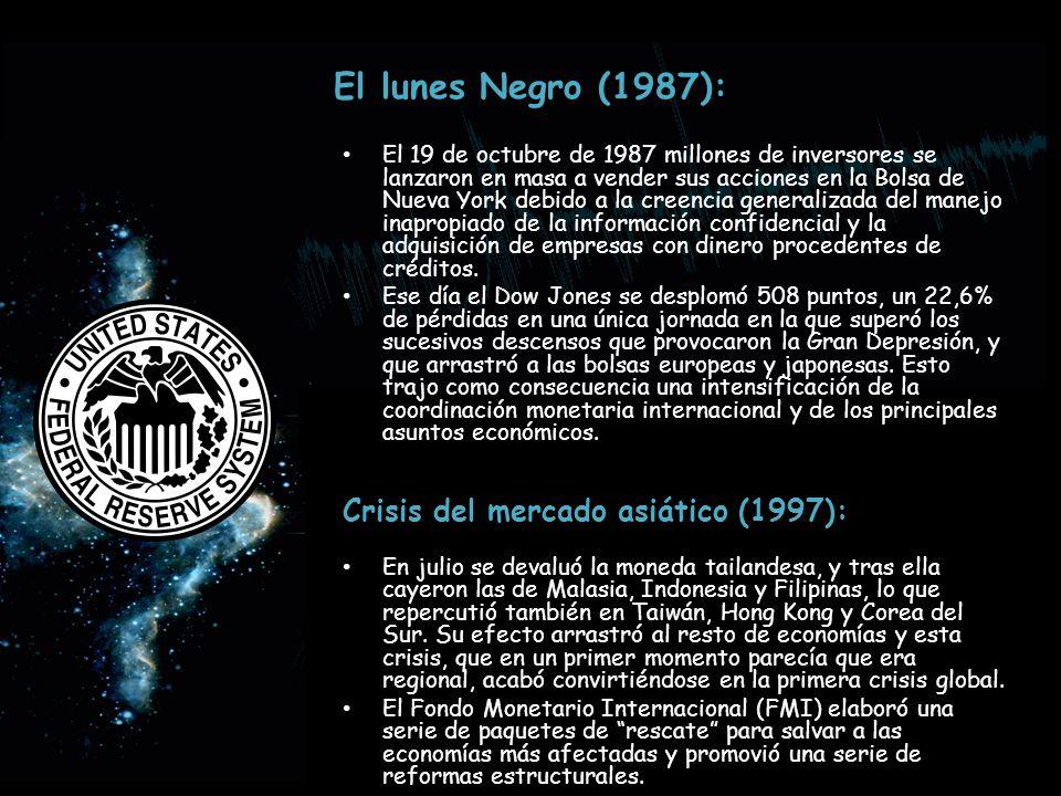 El lunes Negro (1987): Crisis del mercado asiático (1997):