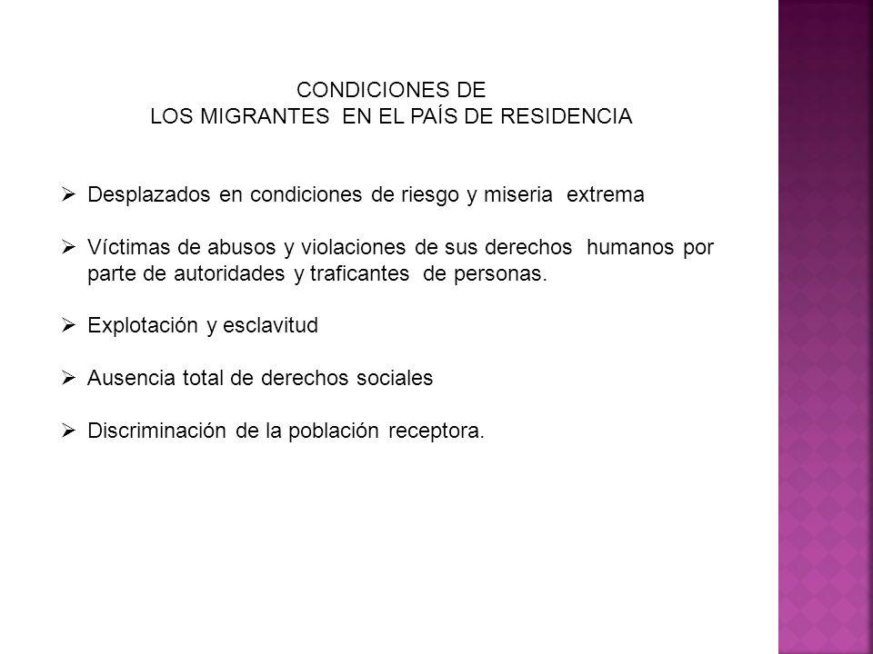 CONDICIONES DE LOS MIGRANTES EN EL PAÍS DE RESIDENCIA