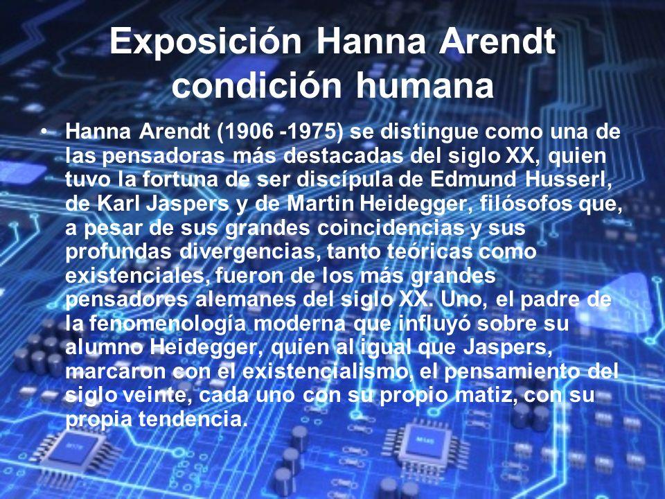 Exposición Hanna Arendt condición humana