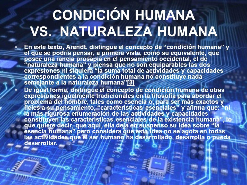 CONDICIÓN HUMANA VS. NATURALEZA HUMANA