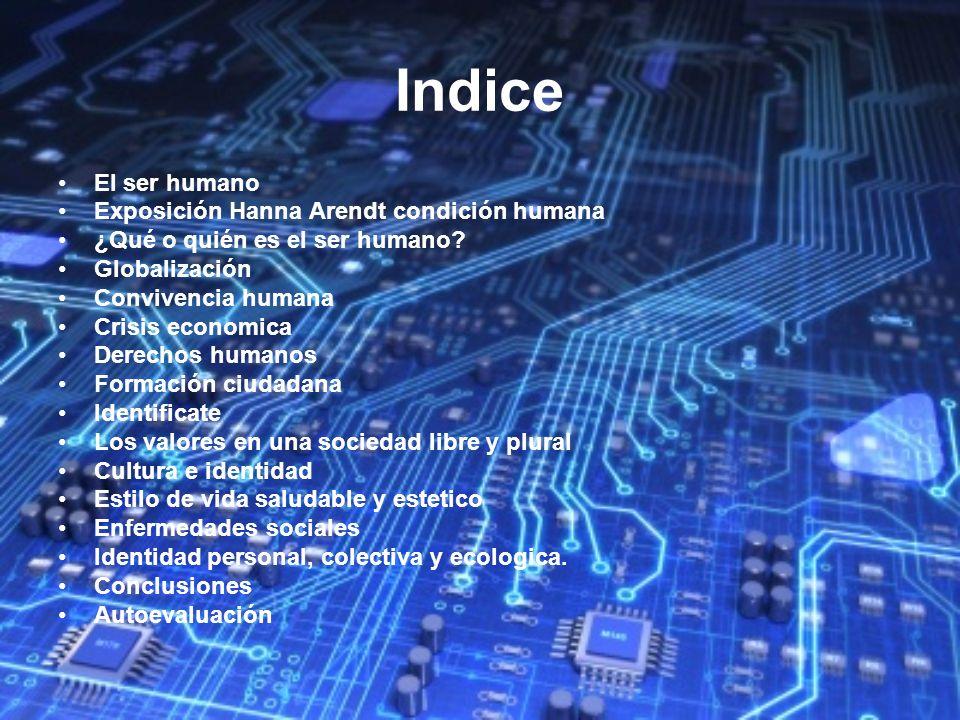 Indice El ser humano Exposición Hanna Arendt condición humana