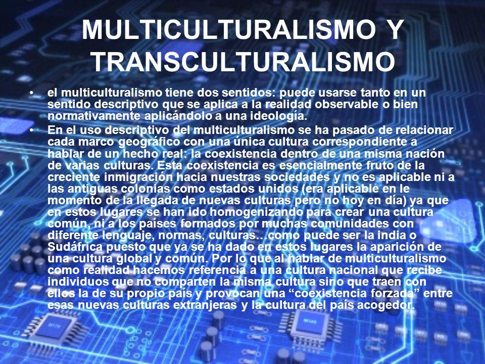MULTICULTURALISMO Y TRANSCULTURALISMO