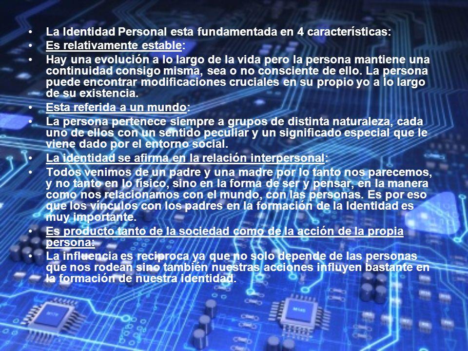 La Identidad Personal esta fundamentada en 4 características: