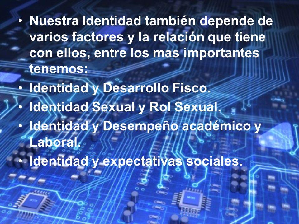 Nuestra Identidad también depende de varios factores y la relación que tiene con ellos, entre los mas importantes tenemos:
