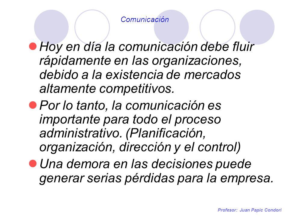 Comunicación Hoy en día la comunicación debe fluir rápidamente en las organizaciones, debido a la existencia de mercados altamente competitivos.