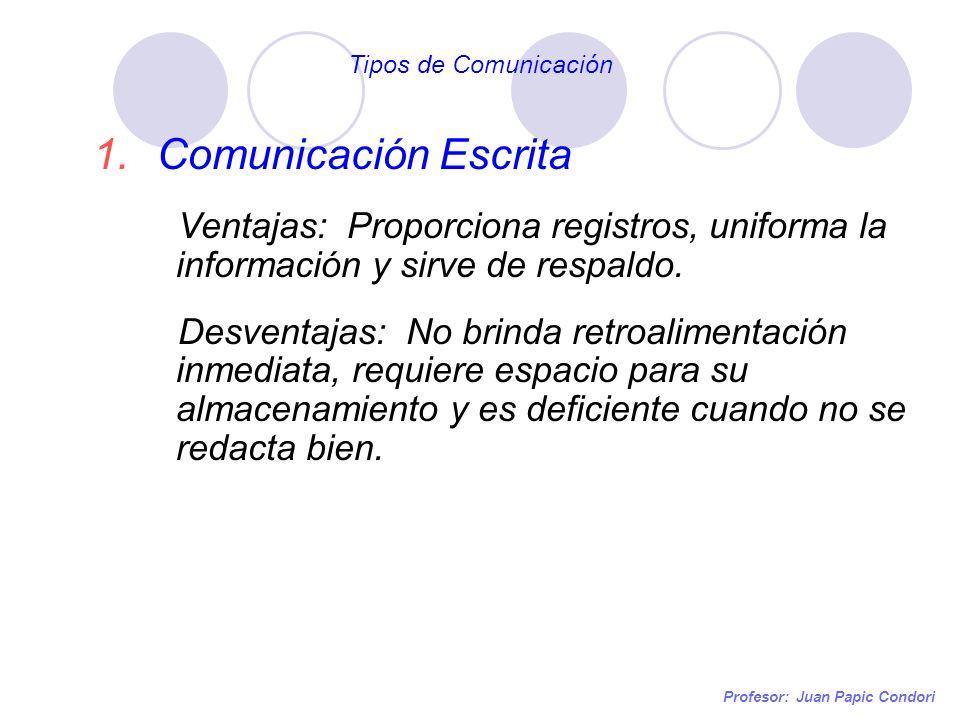 Tipos de Comunicación Comunicación Escrita. Ventajas: Proporciona registros, uniforma la información y sirve de respaldo.