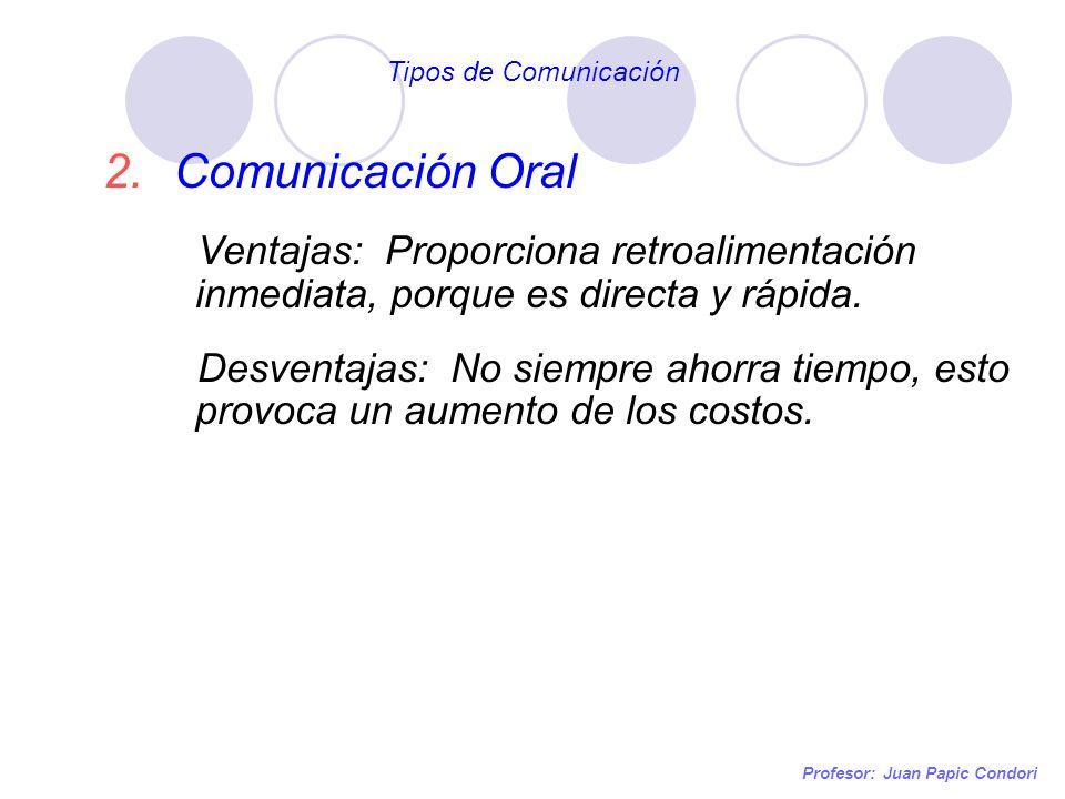 Tipos de Comunicación Comunicación Oral. Ventajas: Proporciona retroalimentación inmediata, porque es directa y rápida.