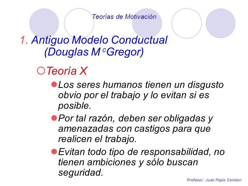 Antiguo Modelo Conductual (Douglas M cGregor) Teoría X