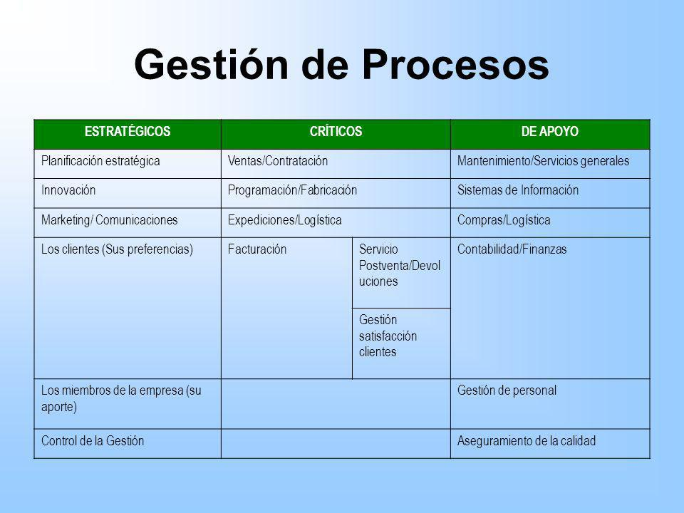 Gestión de Procesos ESTRATÉGICOS CRÍTICOS DE APOYO