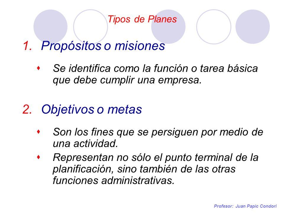 Propósitos o misiones Objetivos o metas