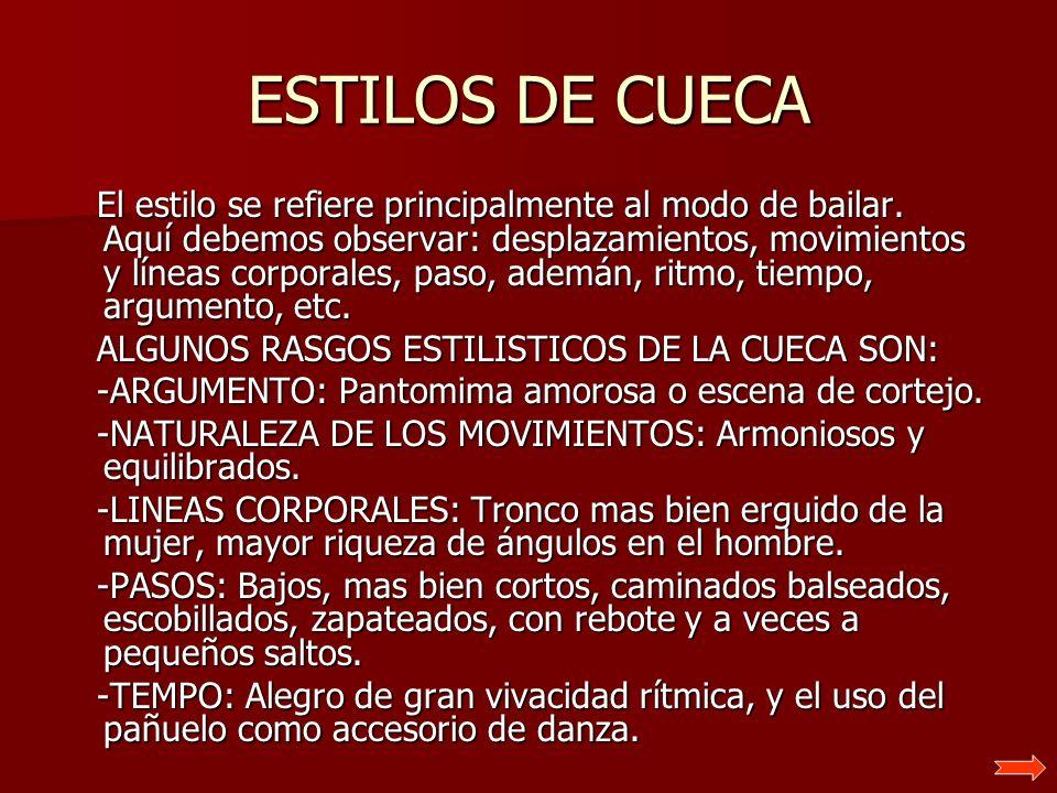 ESTILOS DE CUECA