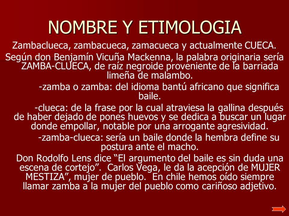 NOMBRE Y ETIMOLOGIA Zambaclueca, zambacueca, zamacueca y actualmente CUECA.