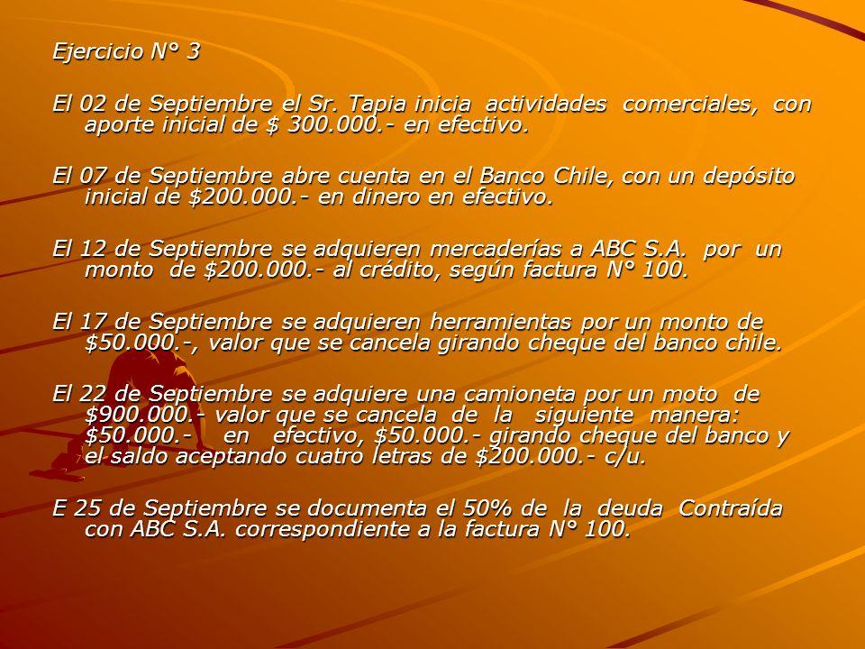 Ejercicio N° 3 El 02 de Septiembre el Sr. Tapia inicia actividades comerciales, con aporte inicial de $ 300.000.- en efectivo.