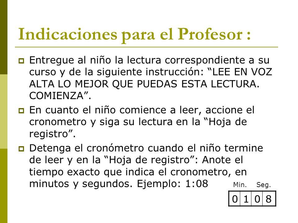 Indicaciones para el Profesor :