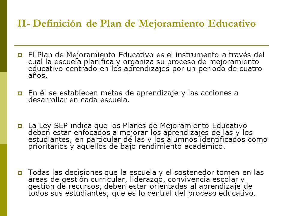 II- Definición de Plan de Mejoramiento Educativo