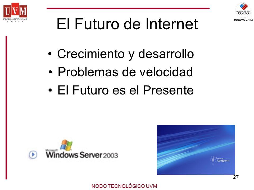 El Futuro de Internet Crecimiento y desarrollo Problemas de velocidad