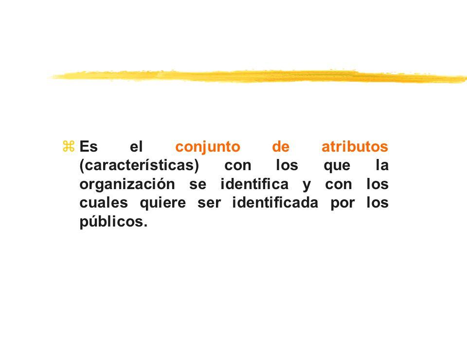 Es el conjunto de atributos (características) con los que la organización se identifica y con los cuales quiere ser identificada por los públicos.