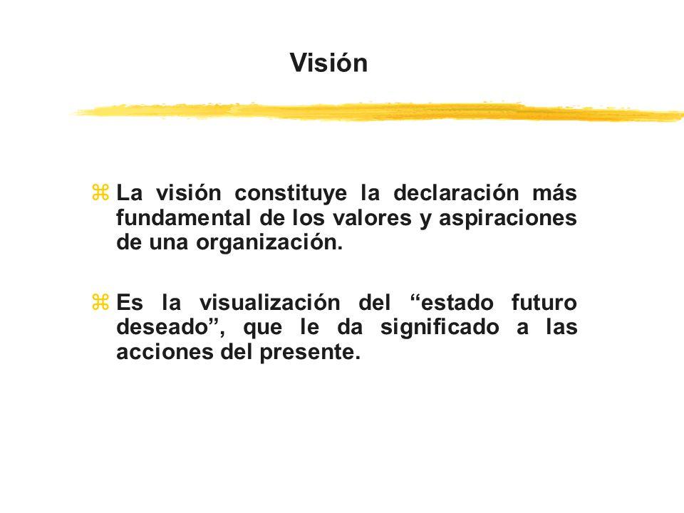 Visión La visión constituye la declaración más fundamental de los valores y aspiraciones de una organización.