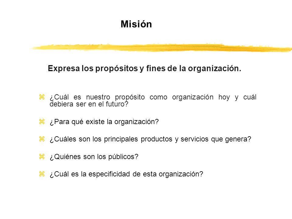 Misión Expresa los propósitos y fines de la organización.