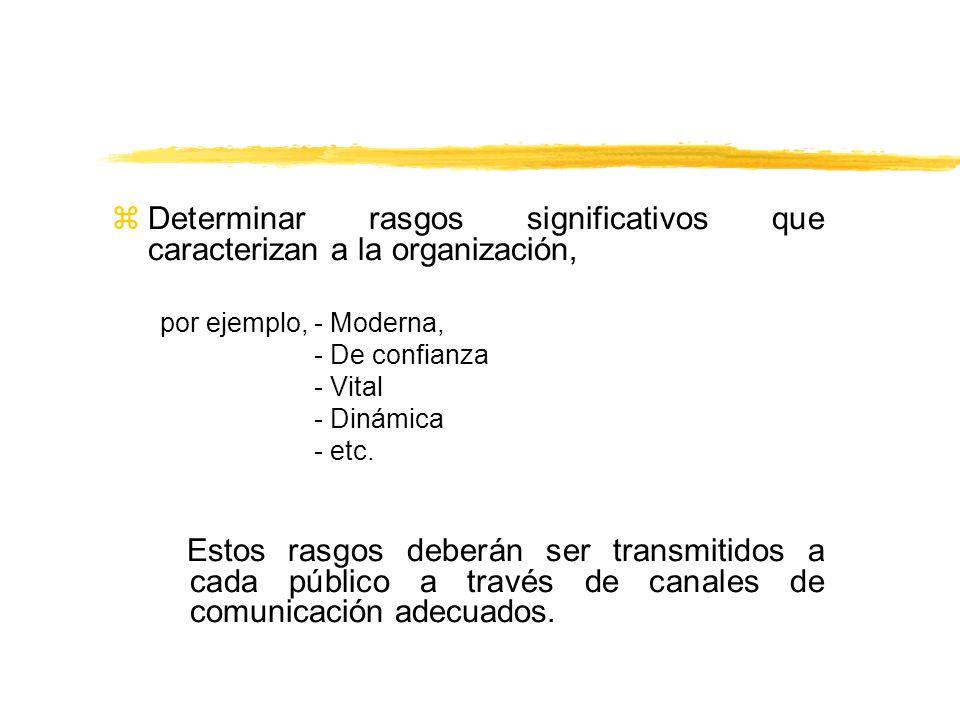 Determinar rasgos significativos que caracterizan a la organización,