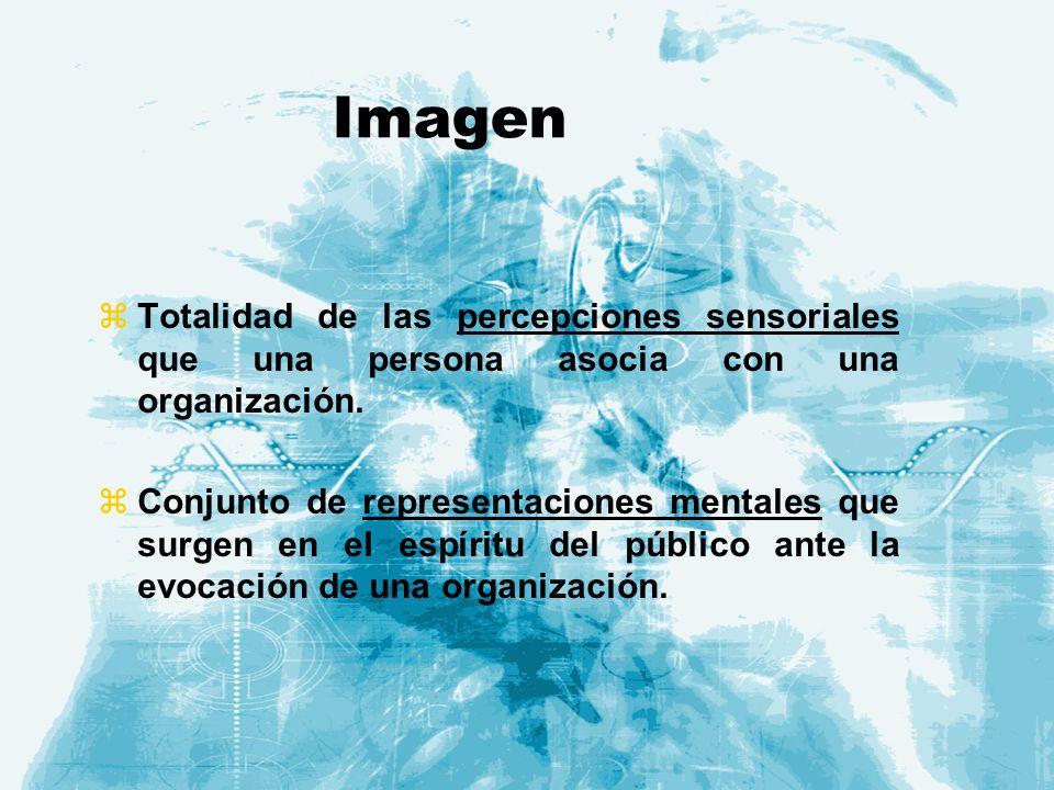 Imagen Totalidad de las percepciones sensoriales que una persona asocia con una organización.