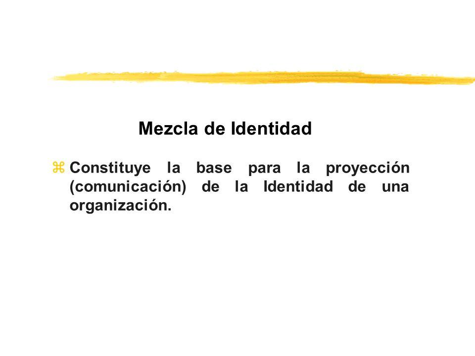 Mezcla de Identidad Constituye la base para la proyección (comunicación) de la Identidad de una organización.