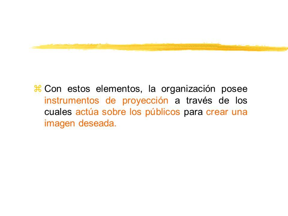 Con estos elementos, la organización posee instrumentos de proyección a través de los cuales actúa sobre los públicos para crear una imagen deseada.