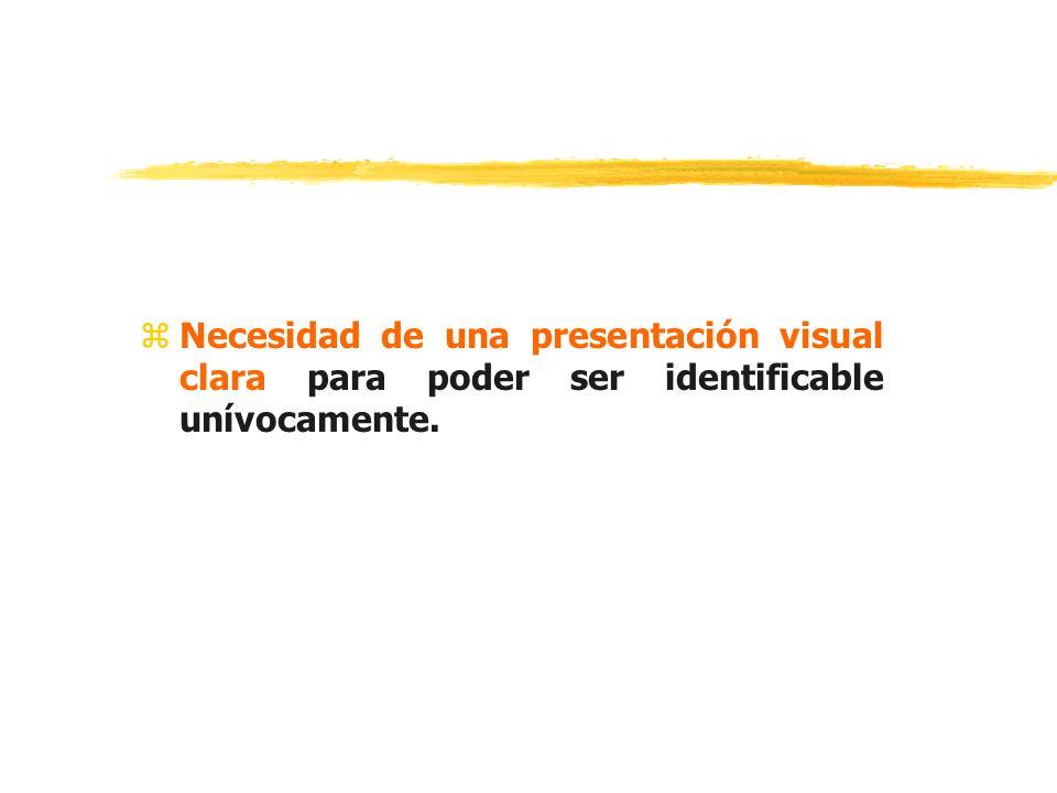 Necesidad de una presentación visual clara para poder ser identificable unívocamente.