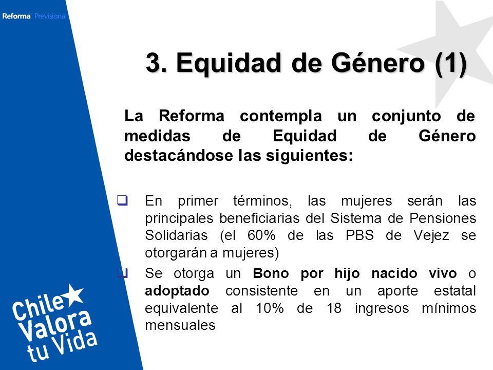 3. Equidad de Género (1) La Reforma contempla un conjunto de medidas de Equidad de Género destacándose las siguientes: