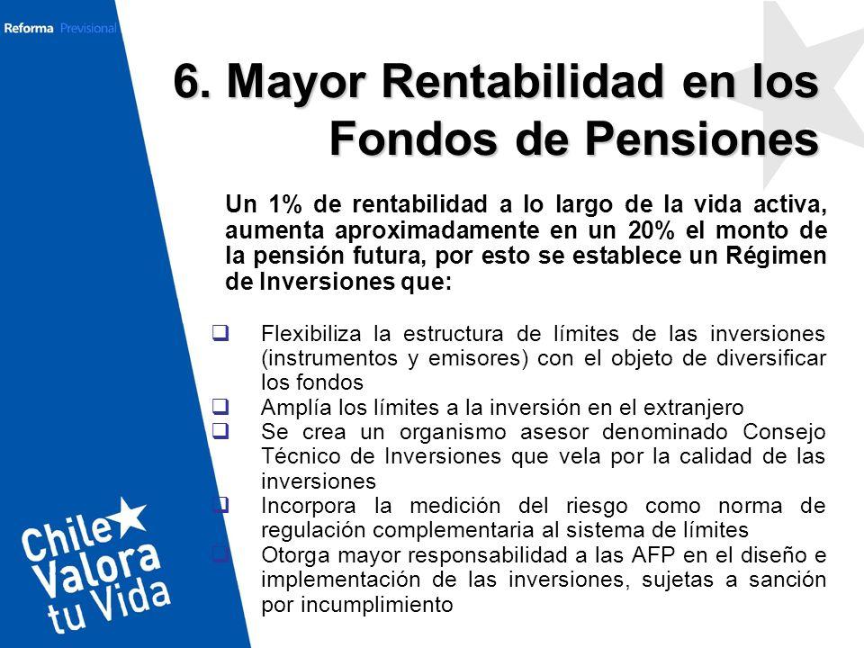6. Mayor Rentabilidad en los Fondos de Pensiones