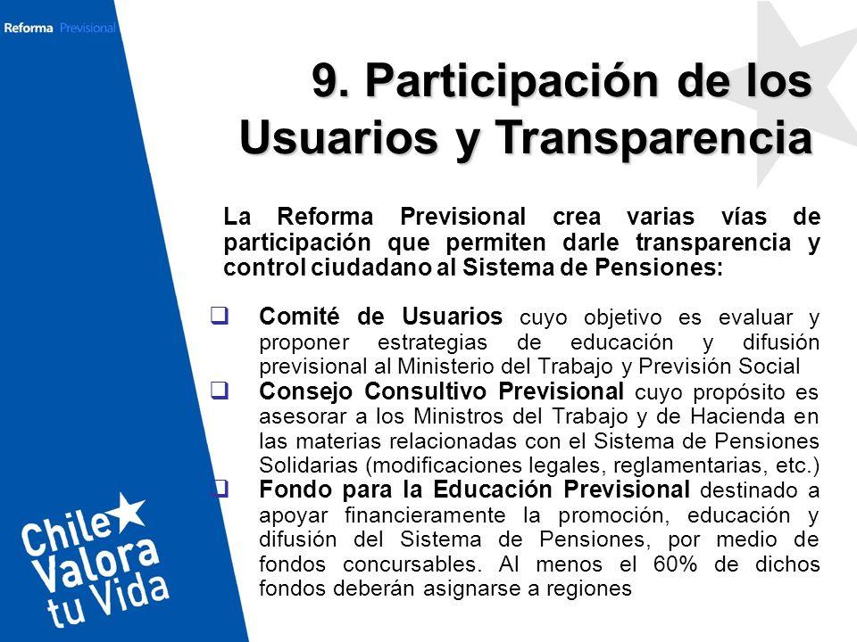 9. Participación de los Usuarios y Transparencia