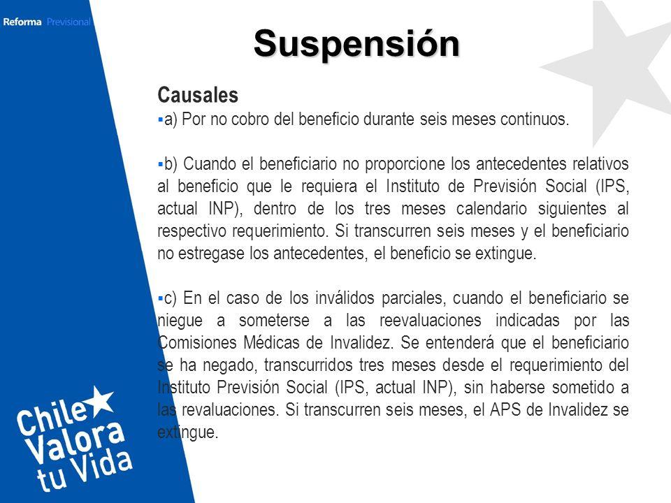 Suspensión Causales. a) Por no cobro del beneficio durante seis meses continuos.