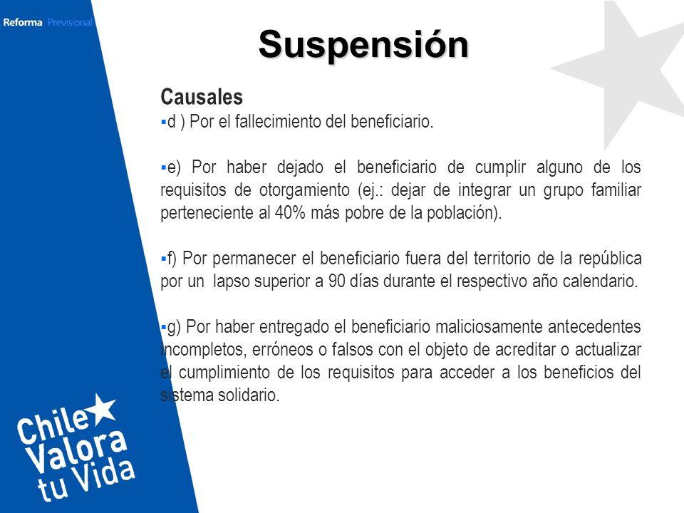 Suspensión Causales d ) Por el fallecimiento del beneficiario.