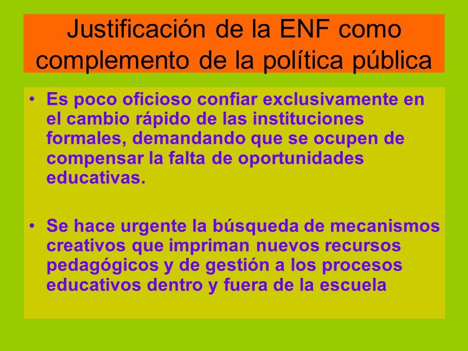 Justificación de la ENF como complemento de la política pública