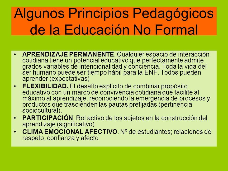 Algunos Principios Pedagógicos de la Educación No Formal