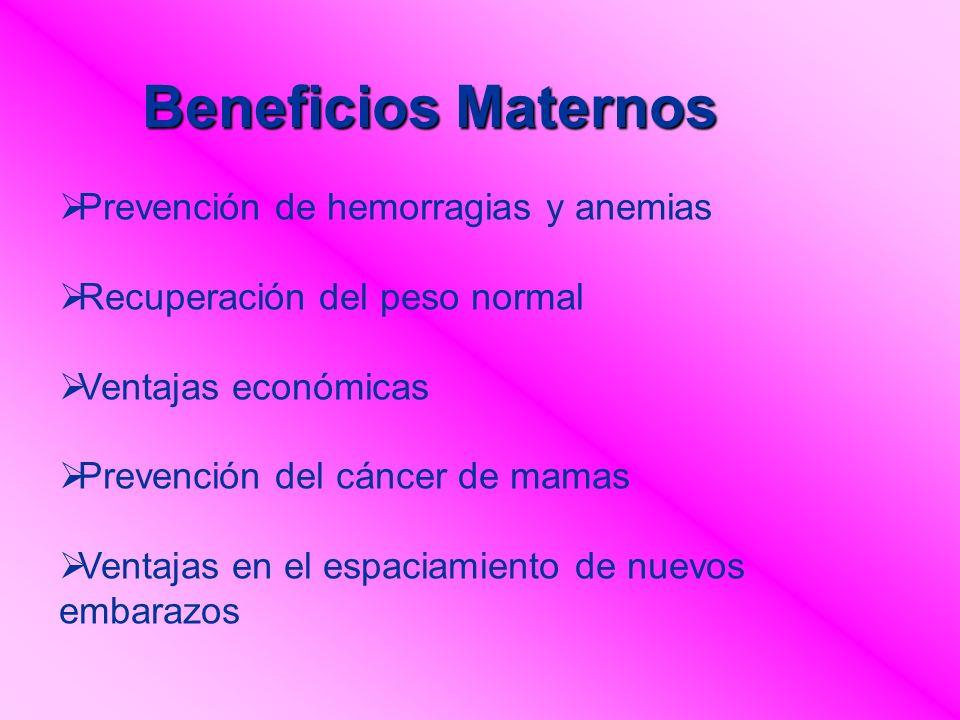 Beneficios Maternos Prevención de hemorragias y anemias