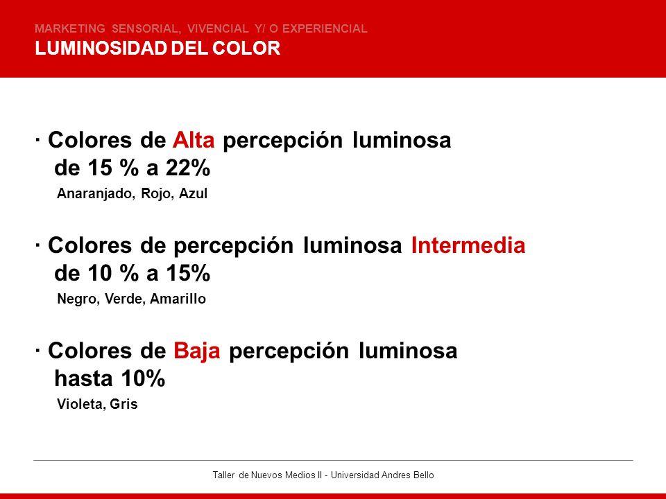 · Colores de Alta percepción luminosa de 15 % a 22%