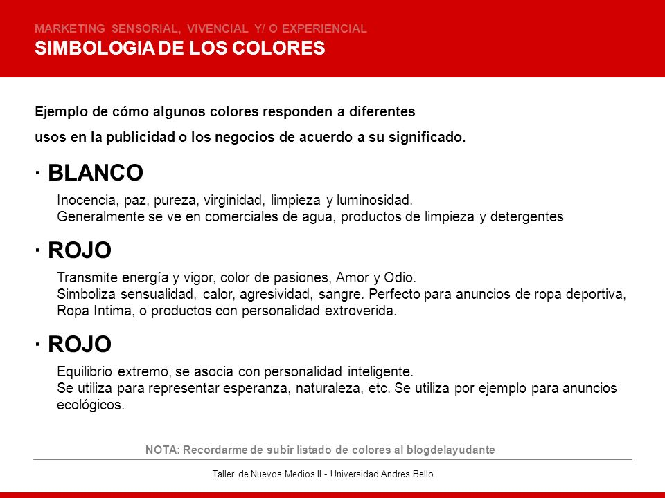 · BLANCO · ROJO · ROJO SIMBOLOGIA DE LOS COLORES