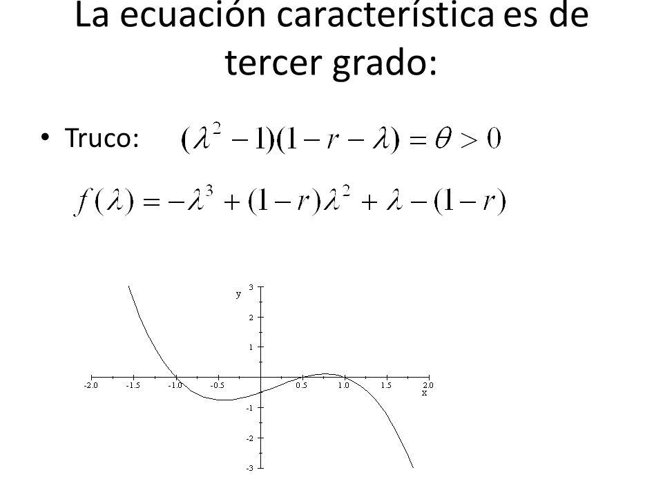 La ecuación característica es de tercer grado: