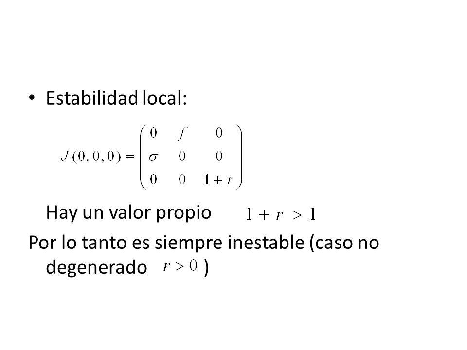 Estabilidad local:Hay un valor propio.