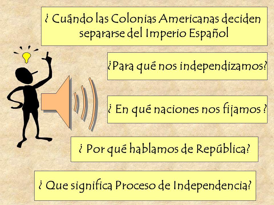 ¿ Cuándo las Colonias Americanas deciden separarse del Imperio Español