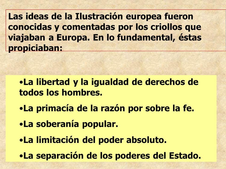 Las ideas de la Ilustración europea fueron conocidas y comentadas por los criollos que viajaban a Europa. En lo fundamental, éstas propiciaban: