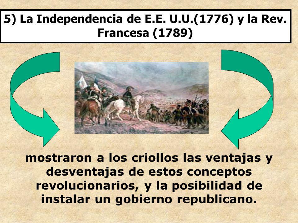 5) La Independencia de E.E. U.U.(1776) y la Rev. Francesa (1789)