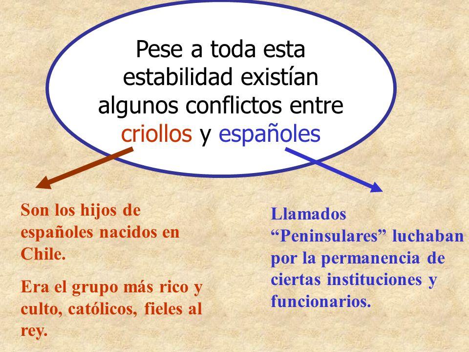 Pese a toda esta estabilidad existían algunos conflictos entre criollos y españoles