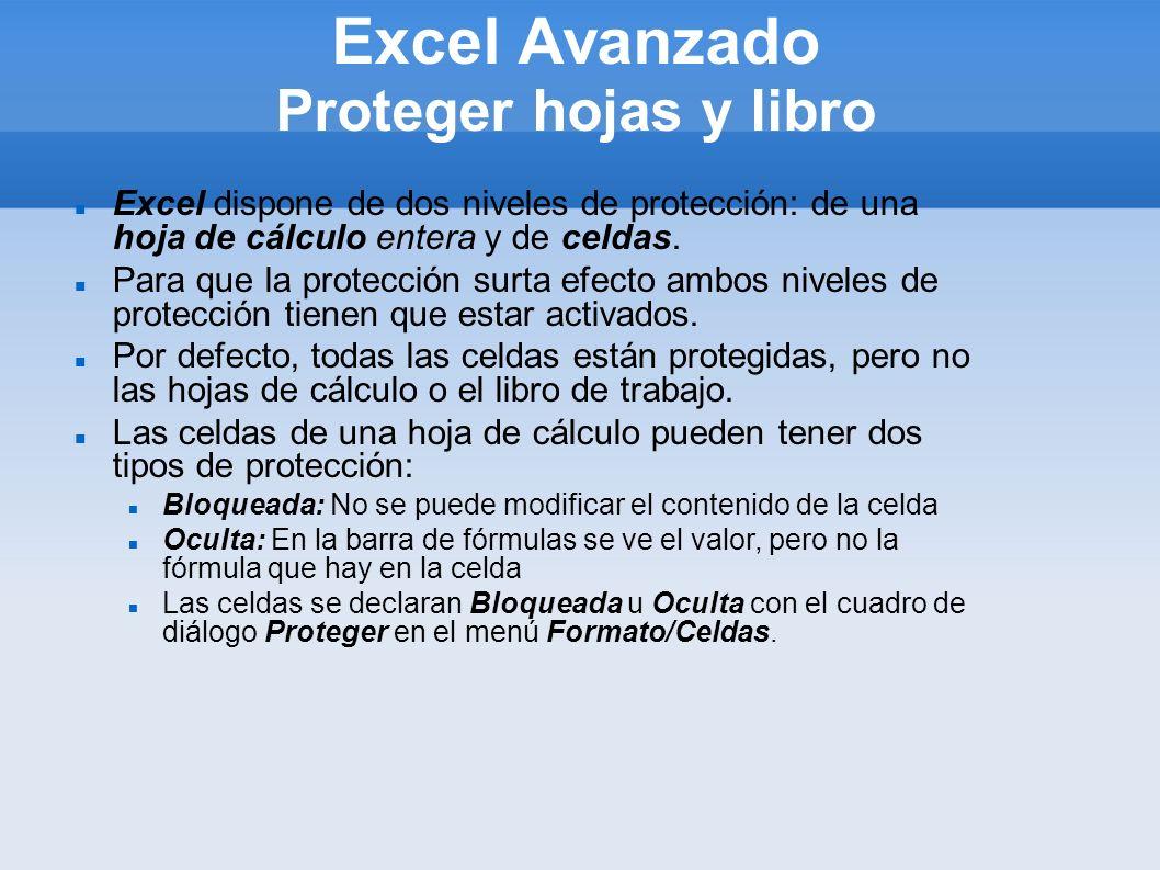 Excel Avanzado Proteger hojas y libro