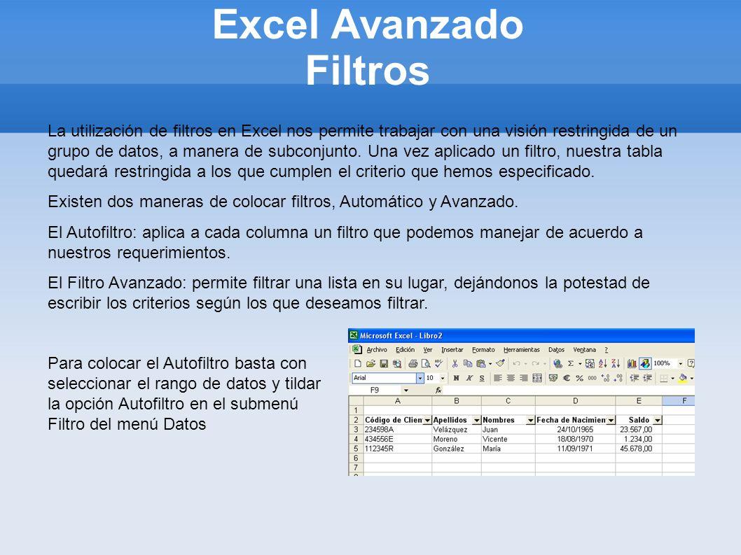 Excel Avanzado Filtros