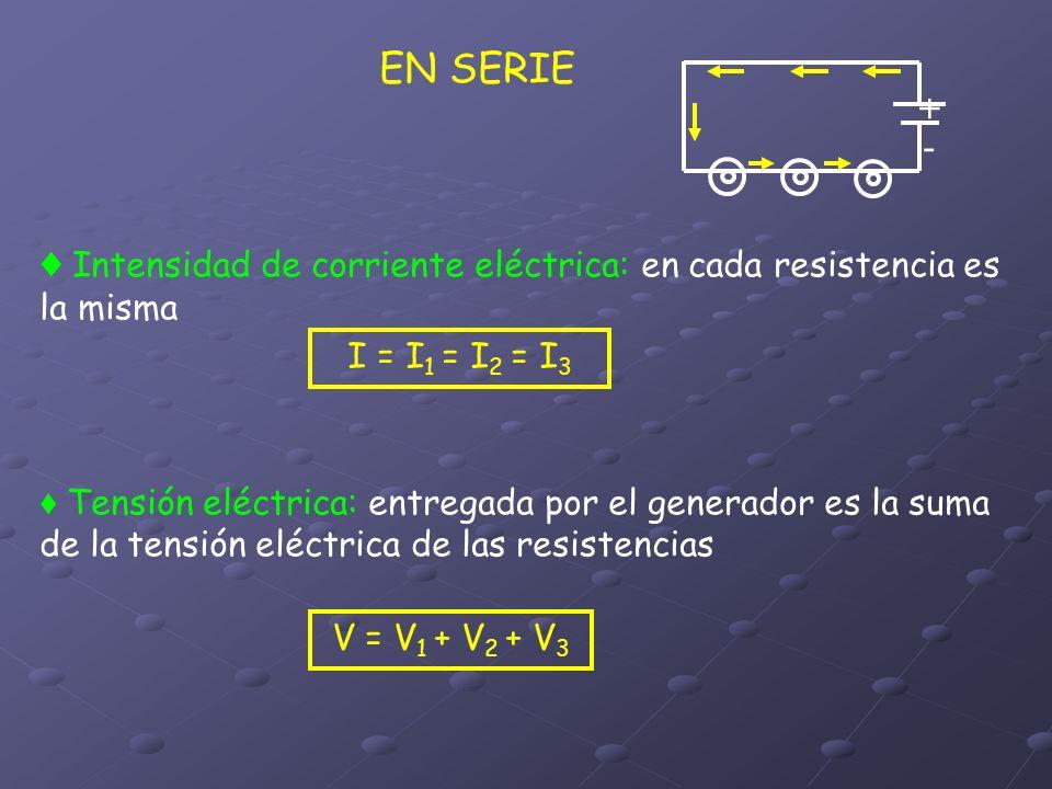 EN SERIE + - ♦ Intensidad de corriente eléctrica: en cada resistencia es la misma. I = I1 = I2 = I3.
