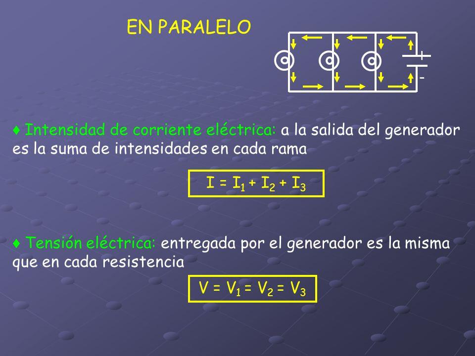 EN PARALELO + - ♦ Intensidad de corriente eléctrica: a la salida del generador es la suma de intensidades en cada rama.