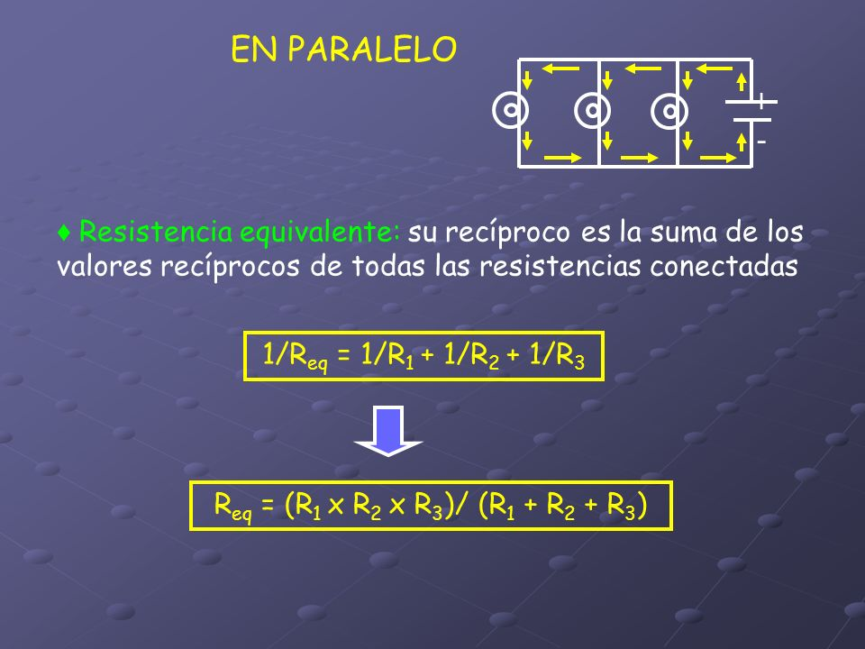 EN PARALELO + - ♦ Resistencia equivalente: su recíproco es la suma de los valores recíprocos de todas las resistencias conectadas.